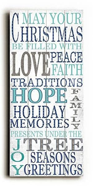 In shades of blue, this Blue Christmas Wood Sign will get you in the holiday spirit with its words of the Christmas holiday.
