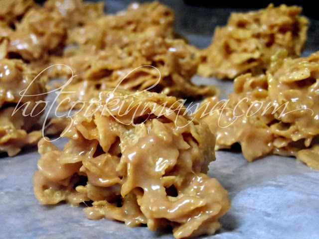 No bake Peanut butter cornflake cookies. Better than PB Rice Krispy treats! So easy to do! YUM!