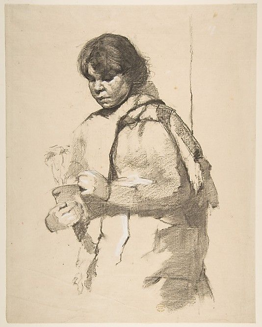 Girl with a Flower Pot  Anonymous, French, 19th century / Charcoal on pale buff paper, touched with white chalk