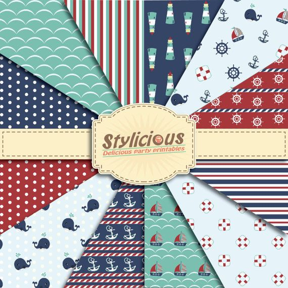 Nautical Pattern Digital Paper Pack  by StyliciousPrintables