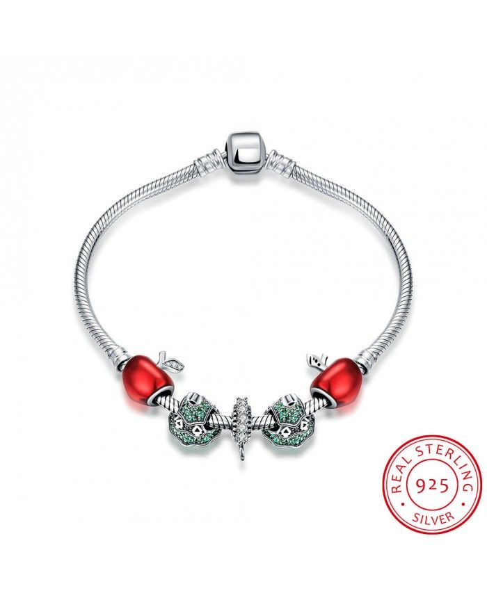 New Fashion Antique Charm Bracelet With Red Beads 925 Silver