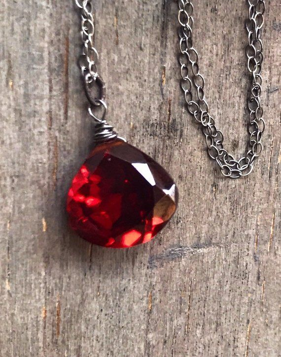 Fancy Briolette Natural Garnet Pendant Wire Wrapped in Solid 14K Yellow Gold Wedding Bridal 2nd Anniversary January Birthstone