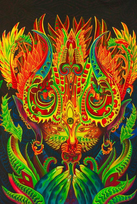 Ayahuasca-Spirit UV Painting - handgemachte auf Schwarzlicht aktive psychedelische Dmt Yage mehrere Größen zu bestellen