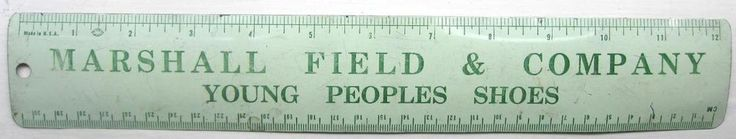"""Marshall Field & Company vintage advertising metal ruler """"Young People's Shoes"""""""