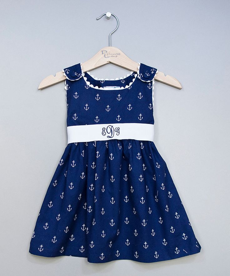Take a look at this Princess Linens Navy Anchor Monogram Jumper Dress - Infant, Toddler & Girls today!