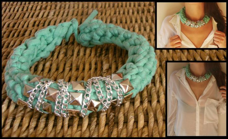 Knitting necklace by Macaroni&Style.  https://www.facebook.com/photo.php?fbid=256342084477312&set=a.255780707866783.52292.250924128352441&type=3&theater