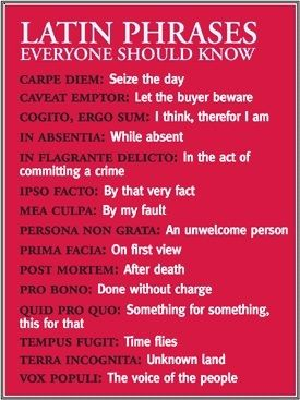 Basic Latin phrases everyone should learn.