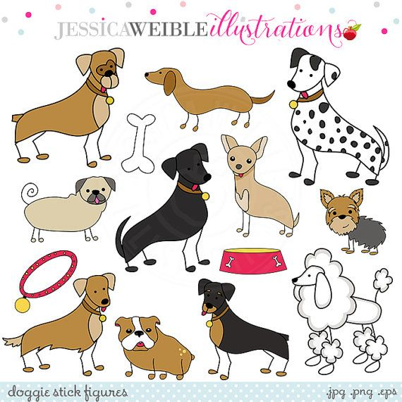 Doggie Stick Figures Cute Digital Clipart by JWIllustrations