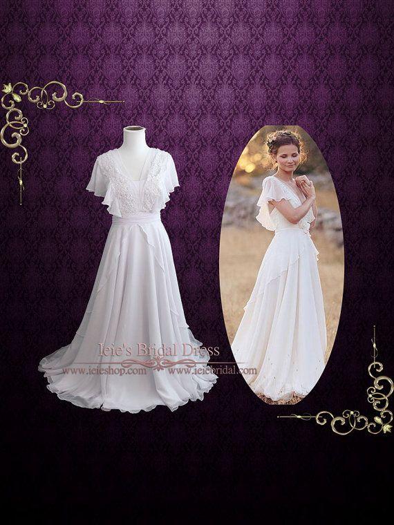 Whimsical Grecian Chiffon Wedding Dress with Butterfly by ieie