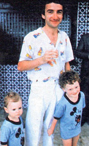 John Deacon of Queen with his two oldest children, Robert and Michael, 1980's.