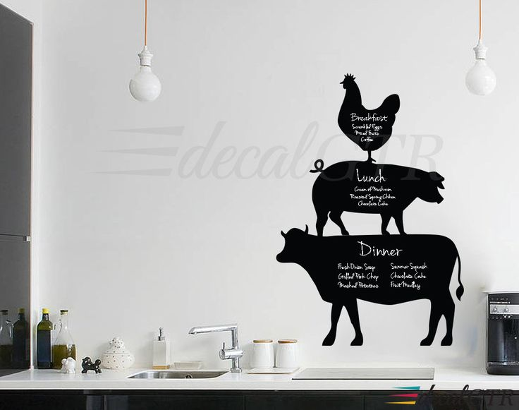 Cow Pig Rooster Menu Wall Decal for Kitchen - Adhesive backed Chalk Black Board Wall Calendar Vinyl Decal - C019 by DecalGTR on Etsy https://www.etsy.com/listing/244716921/cow-pig-rooster-menu-wall-decal-for