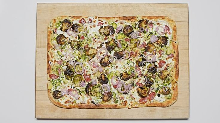 Skillet Brussels Sprouts and Salami Pizza on video.bonappetit.com
