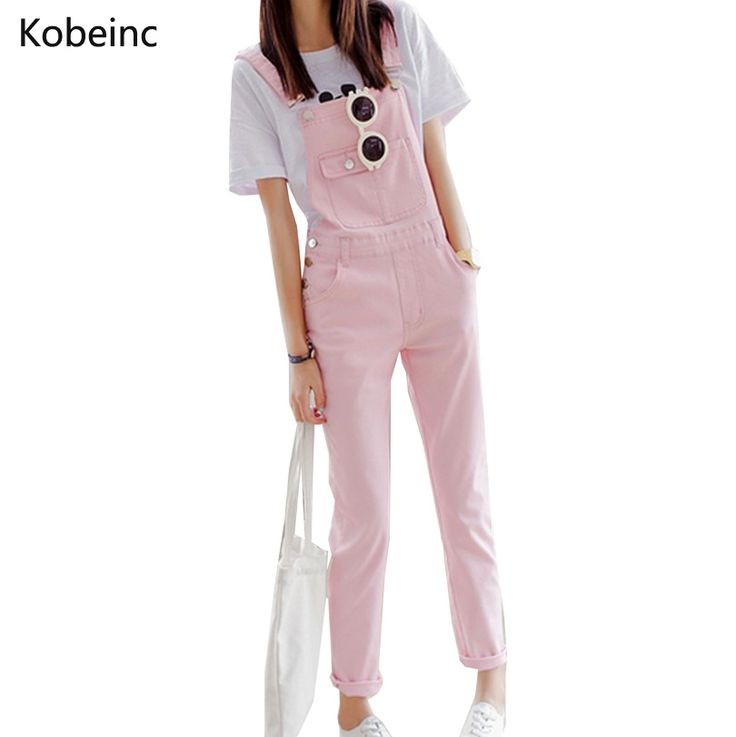 Brief Solid Women Jumpsuits Slim Moveable Strap Rompers Casual Big Pocket Denim Overalls Fashion Candy Color on http://ali.pub/k5l0u