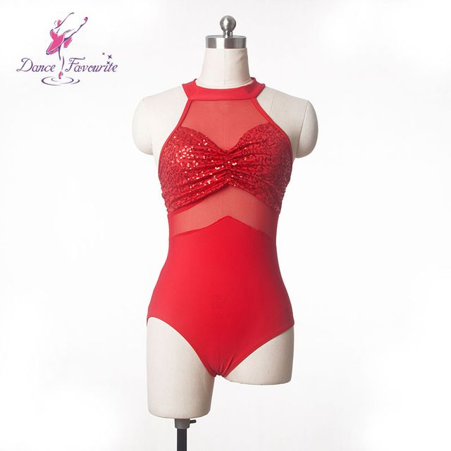 2016 Adult ballet dance sequin and mesh leotard dance wear red leotards for ballet or Latin dance adult sizes S to XXL DFT001