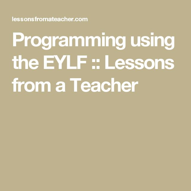 Programming using the EYLF :: Lessons from a Teacher
