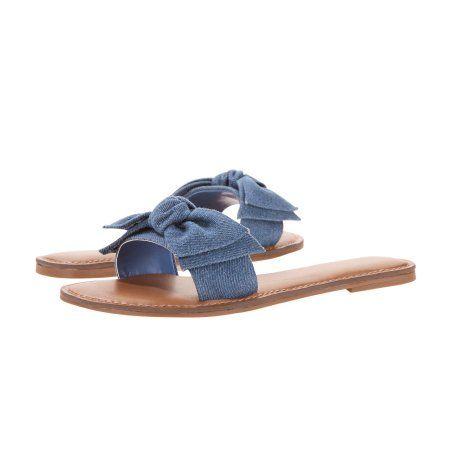 664338d548ed04 Time and Tru Women s Bow Slide Sandal