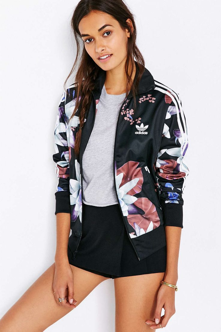 [ADIDAS] Adidas Lotus Print Track Jacket - Urban Outfitters #sporty #flowers #adidas #SportsExcellence