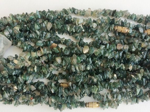 WHOLESALE 5 Strands Moss Agate Chips Moss Agate by gemsforjewels