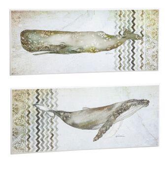 Whale wooden plaque - 2 asst 12x28