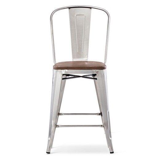 "Carlisle 29"" Barstool with Wood Seat - Natural Metal : Target"