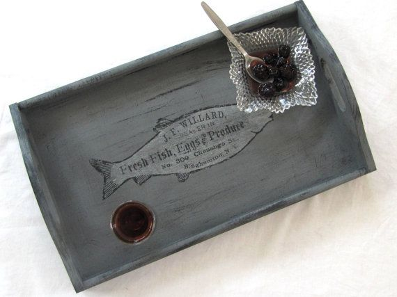 Vintage label wooden serving tray  in grey and black ,