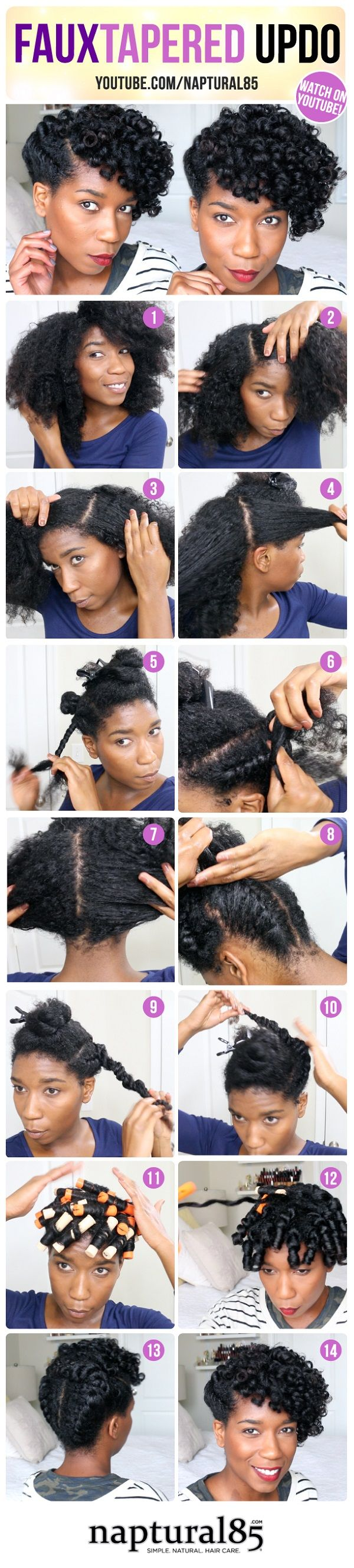 summer protective natural hairstyle faux tapered updo