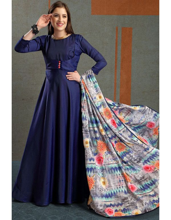 12d23100fca4e Royal Navy Blue Silk Gown with Dupatta | Readymade Gowns | Silk gown ...