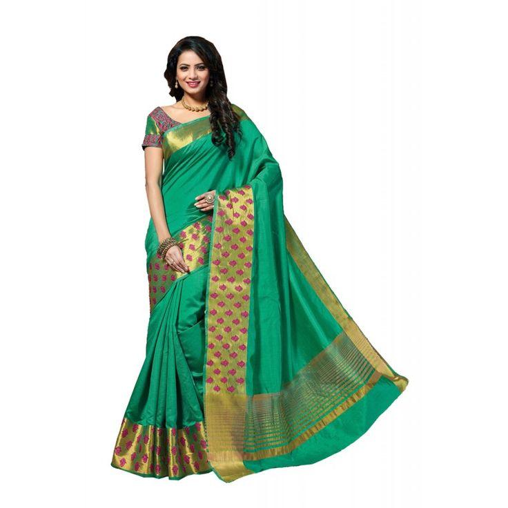 Appealing Plain Pallu Saree in Bottle Green Color