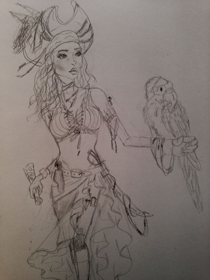 Pirate girl drawing by Dora Meidani inspired by pirates of the Caribbean