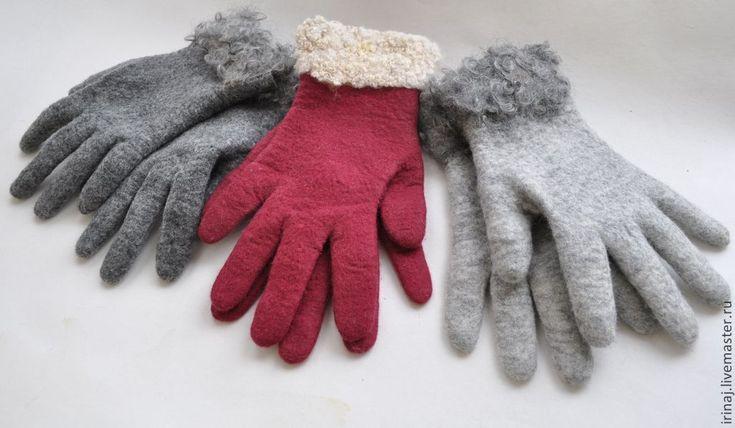"""Купить валяные перчатки """"Меланж"""" - серый, перчатки, перчатки женские, перчатки зимние, перчатки валяные"""