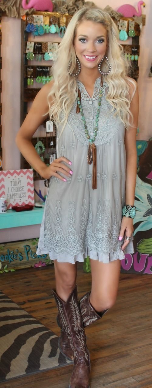 Lace dress. Cowgirl boots                                                                                                                                                                                 More