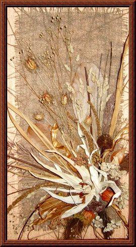 Панно из сухоцветов(листья кукурузы,стручки фасоли,физалис и др.)
