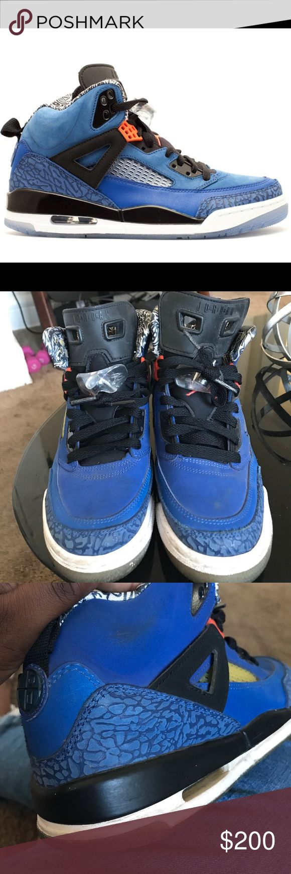 Retro Air Jordan Spizike Knicks Blue & Orange 100% authentic super rare Retro air Jordan's in knicks colors. In good condition -- in need of a little clean but no permanent flaws. Really love these so only willing to sell for a good offer. Size 6.5 in kids which is about 8 in women. Air Jordan Shoes Athletic Shoes