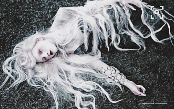 "Mavka ( Ukrainian mythology ) is a type of mermaid with long flaxen hair. The name Mavka derives from Nav' (Navka), which means ""the embodiment of death."" Mavky (plural) do not have a full body, have no reflection in water, do not cast shadows, and have no back, and so their insides can be seen. ---The Sea Witch Watches with Mirror Eyes Sea"