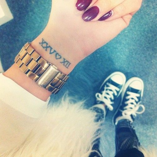 100 Love Tattoo Ideas For Someone Special: Wrist Tattoo.. Love The Roman Numerals