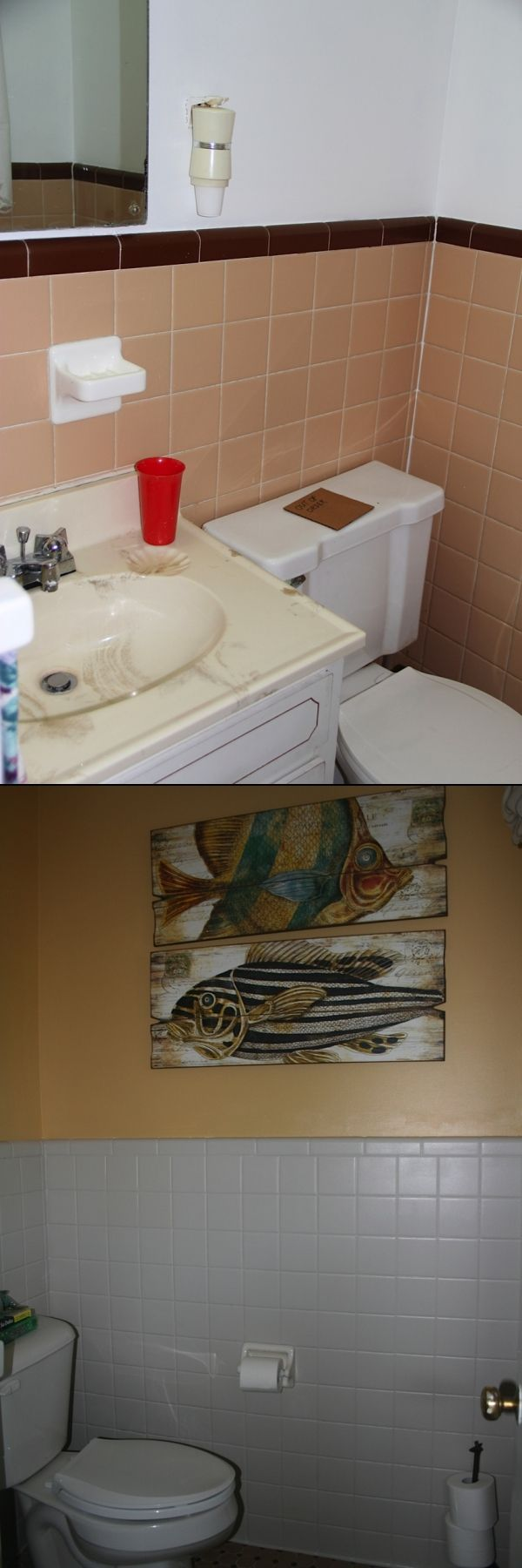 Before And After Of 1950s Bathroom Painted Tile Love It 1950s Fixer Up Brickhousebluedoor