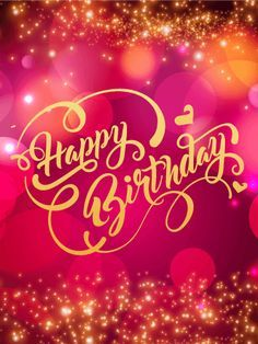 Pink Glowing Happy Birthday Card