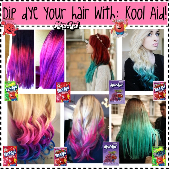 """Umm lol, my sister did this back in the mid 90's, sorry to burst bubbles but it doesnt turn out like those pics!!--""""Dip Dye your hair with:Kool Aid"""" by nialls-princess13 ❤ liked on Polyvore"""