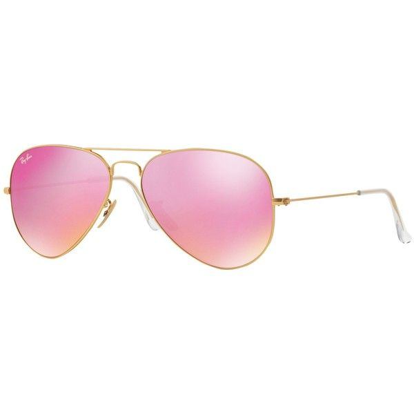 Ray-Ban RB3025 Aviator Sunglasses, Gold/Pink Mirror ($190) ❤ liked on Polyvore featuring accessories, eyewear, sunglasses, gold lens sunglasses, gold sunglasses, ray ban aviator, mirror sunglasses and gold aviator sunglasses