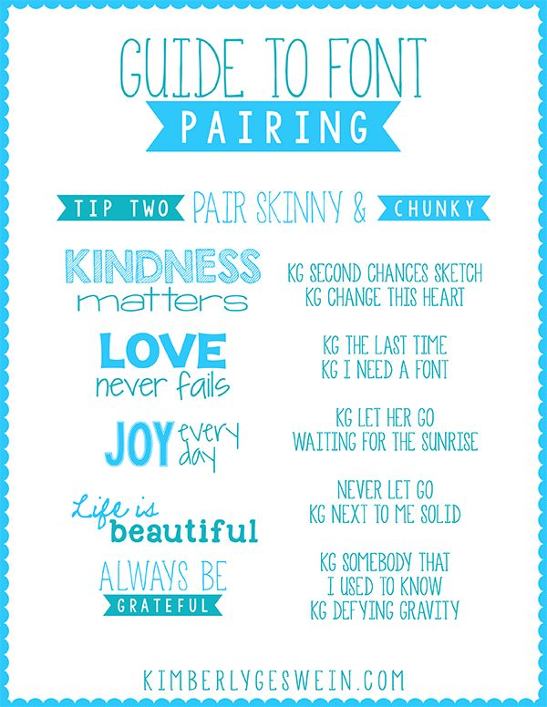 Font Pairing Guide #2  Mixing chunky fonts and skinny fonts is a great visual mashup!