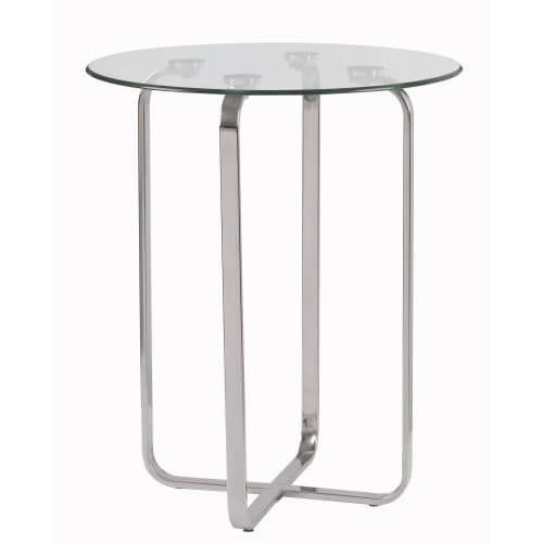 Kenroy Home 65019 Arpeggio 24 Tall Accent Table with Clear Tempered Glass Top, Brushed Steel