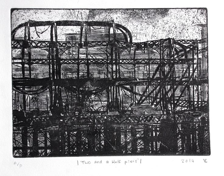 Two and a Half Piers - One of Four etchings of Brighton Pier by Truro College Fine Art A Level student Veryan. Currently entered for the RBA 2015  - A Level competition.