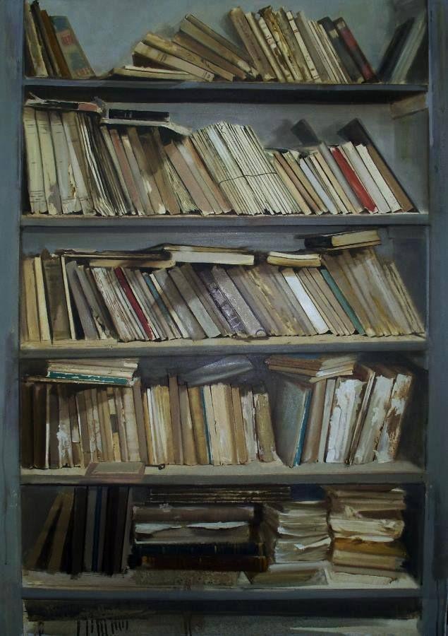 Giovanni Marziano Vecchia Libreria - olio su tela - cm 70x100