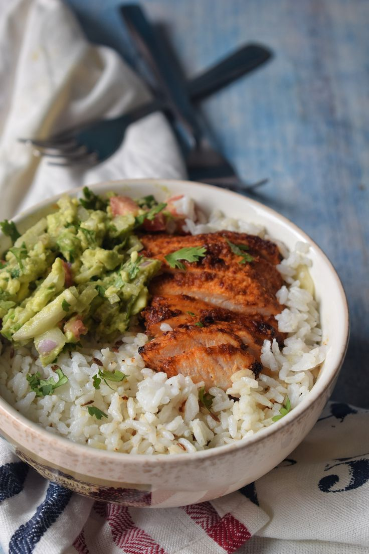 Mexican inspired spicy chicken, guacamole and rice bowl with pantry staples that is not only filling but healthy too.