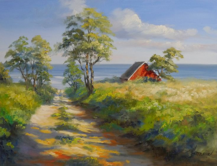 Feldweg zur Ostseeküste in Dänemark. Von einem Haus mit Meerblick sieht man den roten Giebel | Originalgemälde von Ute Herrmann – Wicküler