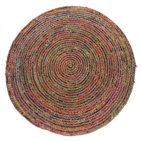 PAVAN Round multi-coloured woven rug 200cm