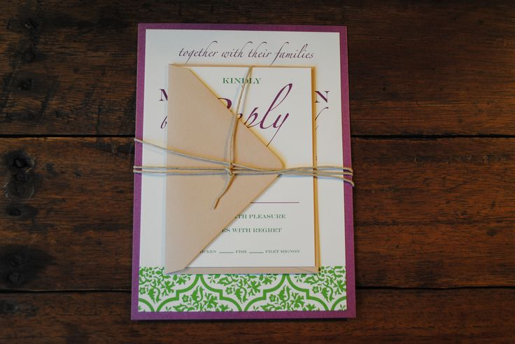 Traditional wedding invitations with a modern twist. Green, Purple, White and Brown color palette. Invite and reply card tied together with twine. Mounted on metallic purple paper.