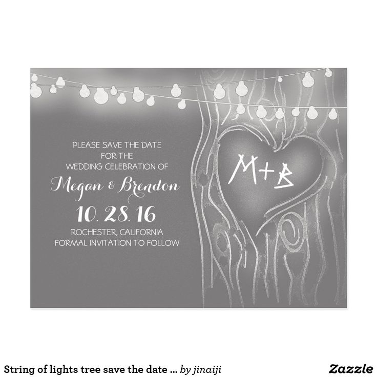 String of lights tree save the date postcards Elegant and modern light grey save the date postcards with love heart tree and string of lights. Perfect modern, yet vintage save the date for garden, backyard or outdoor rustic wedding. Fun wedding invites - customize your weddings invitations. #invitations #invites #weddings