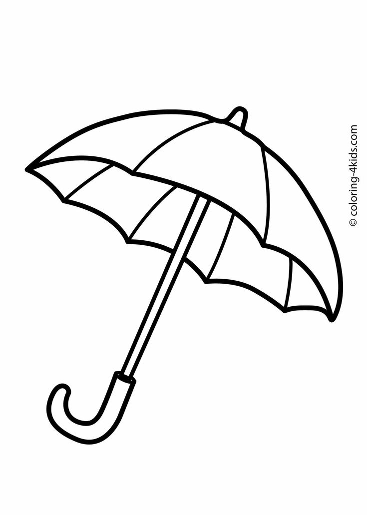 Umbrella coloring pages for kids, printable drawing
