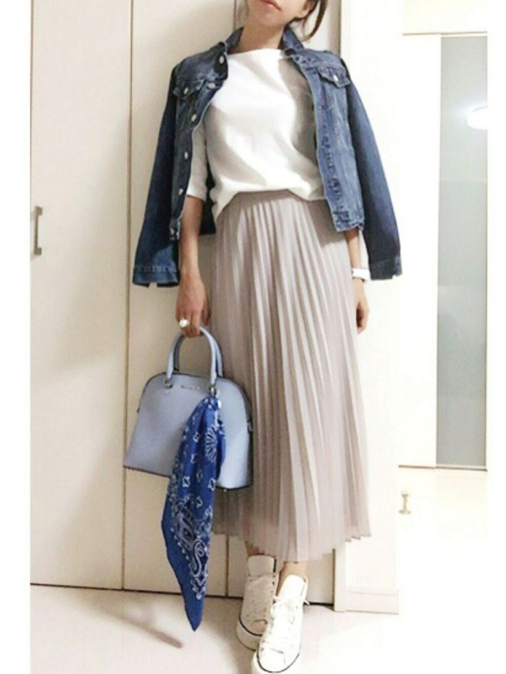 Denim Jacket + Pleated Midi Skirt + Sneakers